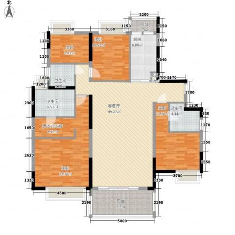 鹿�村4室1厅3卫1厨145.00㎡户型图