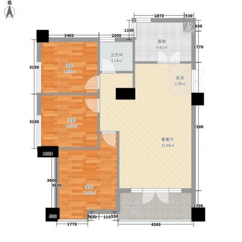 尚城・国际3室1厅1卫1厨112.00㎡户型图