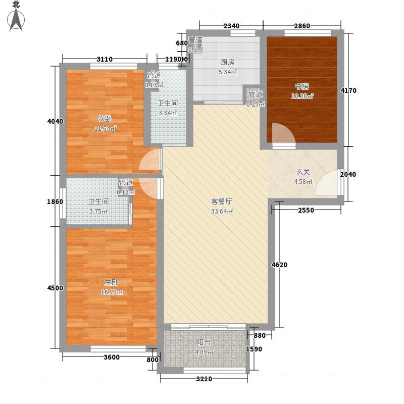 荣光・崴廉公馆131.00㎡5#楼D1户型3室2厅2卫1厨