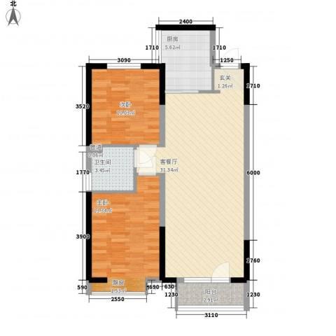 华润中心凯旋门2室1厅1卫1厨66.74㎡户型图