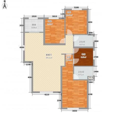 鼎晟国际4室1厅2卫1厨140.00㎡户型图