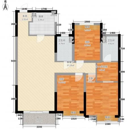 华润中心凯旋门3室1厅2卫1厨133.00㎡户型图