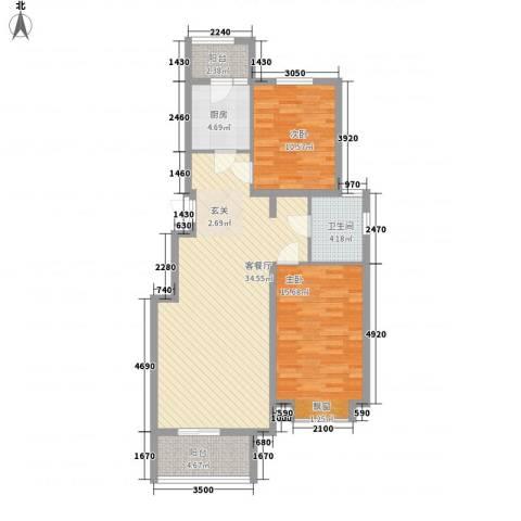 大陆榕花汇2室1厅1卫1厨76.72㎡户型图