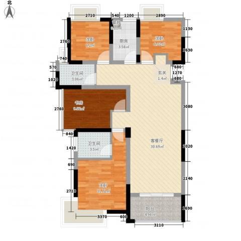 南湖学府4室1厅2卫1厨115.00㎡户型图