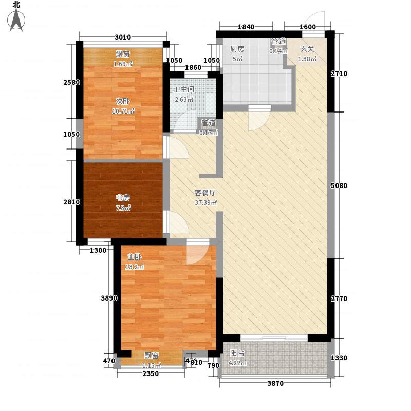 华润中心凯旋门114.00㎡7#楼标准层D'户型3室2厅1卫1厨