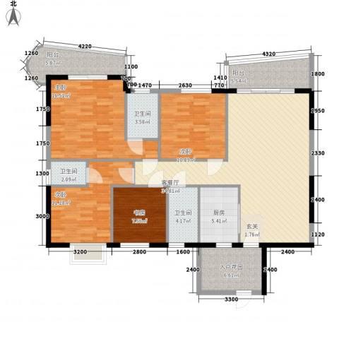 碧海蓝天台湾城4室1厅3卫1厨160.00㎡户型图