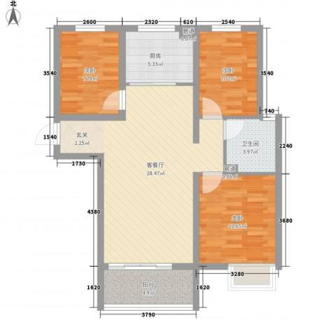 东方巴黎城3室1厅1卫1厨99.00㎡户型图