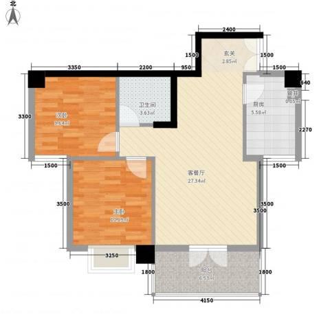 尚城・国际2室1厅1卫1厨89.00㎡户型图