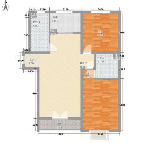 华胜商务公寓2室1厅2卫1厨118.00㎡户型图