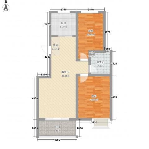 东方巴黎城2室1厅1卫1厨100.00㎡户型图