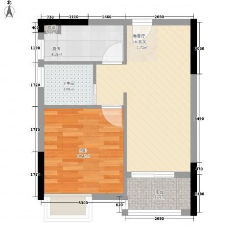 金沙美地1室1厅1卫1厨44.00㎡户型图
