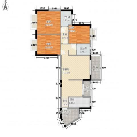 瑞海尚都3室1厅2卫1厨133.00㎡户型图