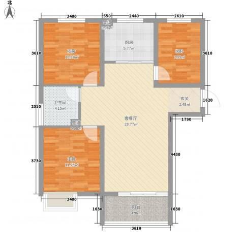 东方巴黎城3室1厅1卫1厨106.00㎡户型图