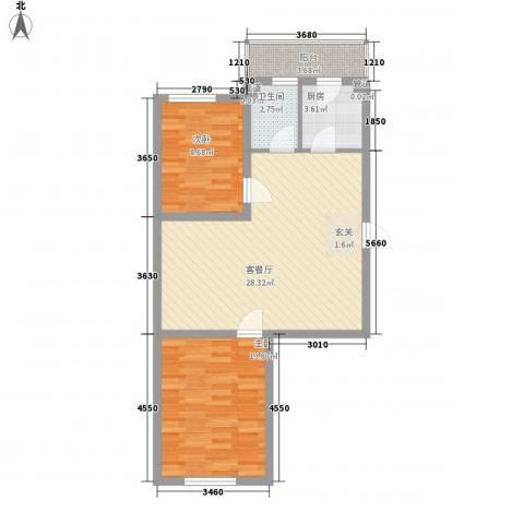 上城俪园2室1厅1卫1厨78.00㎡户型图