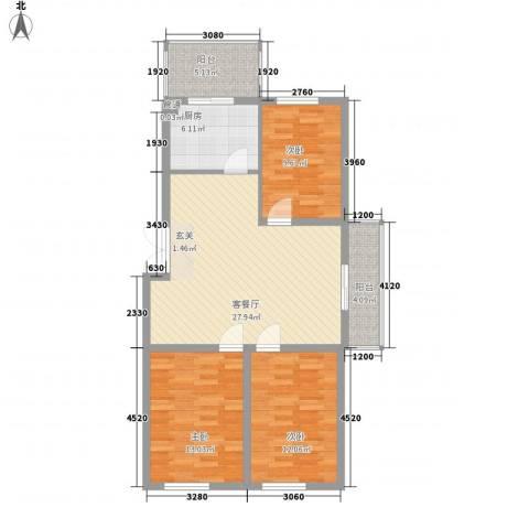 上城俪园3室1厅0卫1厨97.00㎡户型图