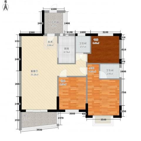 碧海蓝天台湾城3室1厅2卫1厨120.00㎡户型图