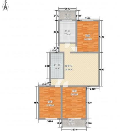 天泰新景温泉小区3室1厅1卫1厨107.00㎡户型图