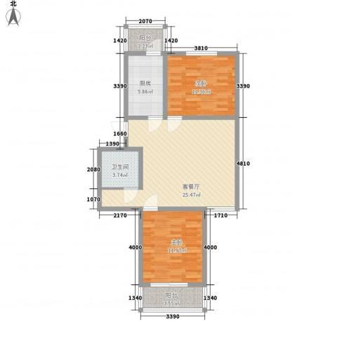 天泰新景温泉小区2室1厅1卫1厨92.00㎡户型图