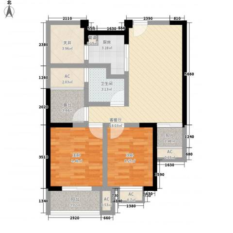 常发香城湾2室1厅1卫1厨89.00㎡户型图