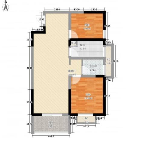 常发香城湾2室1厅1卫1厨90.00㎡户型图