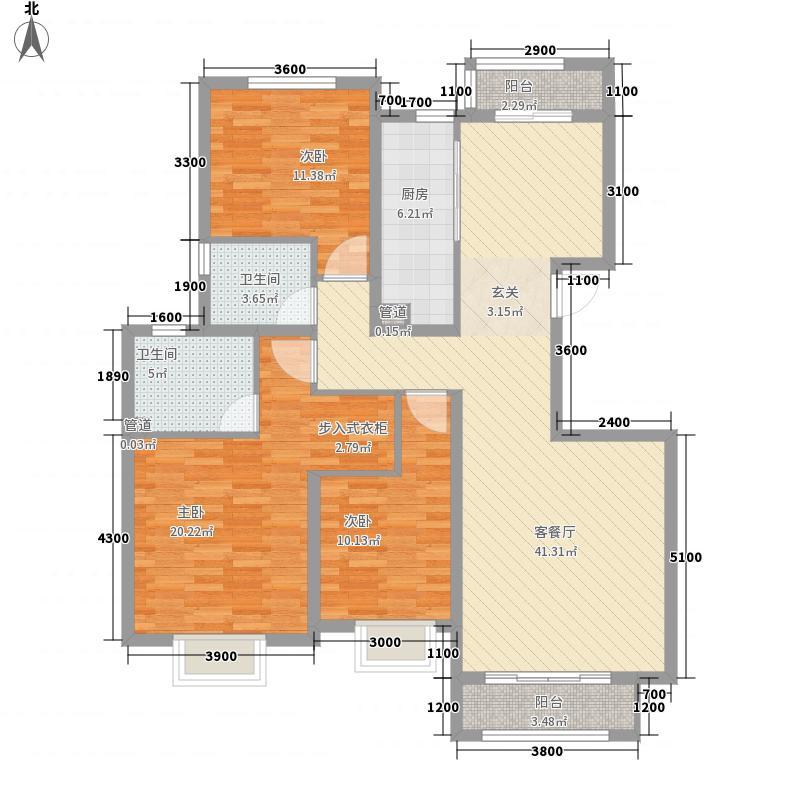 山海雅居13.78㎡E户型3室2厅2卫1厨