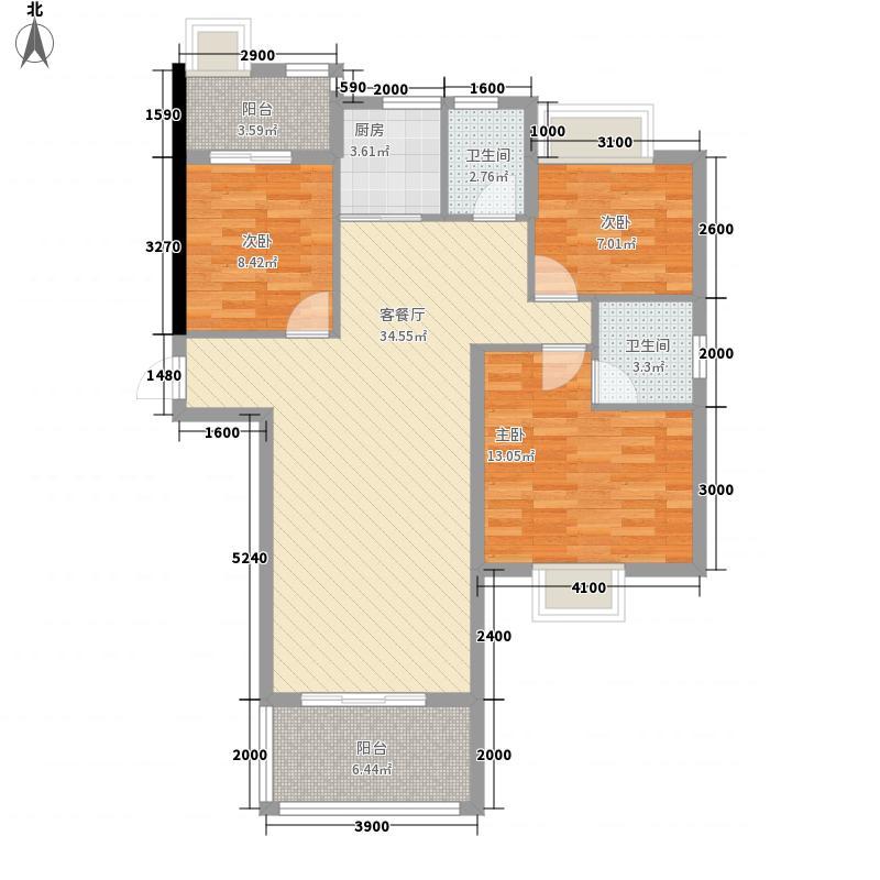 皇城汇�15.86㎡2栋3-13层01户型3室2厅2卫1厨