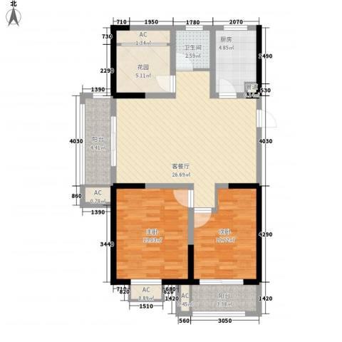 常发香城湾2室1厅1卫1厨87.00㎡户型图