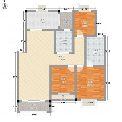 高林水乡花园3室1厅2卫1厨141.00㎡户型图