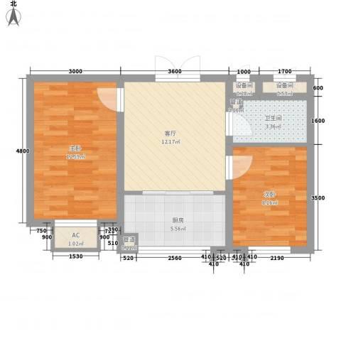 锦绣东方2室1厅1卫1厨64.00㎡户型图
