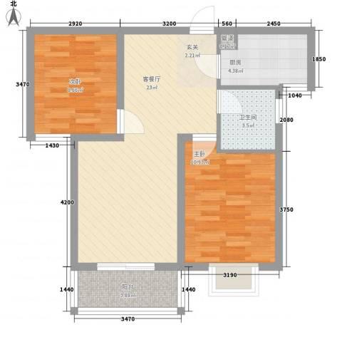 旺族雅苑2室1厅1卫1厨79.00㎡户型图