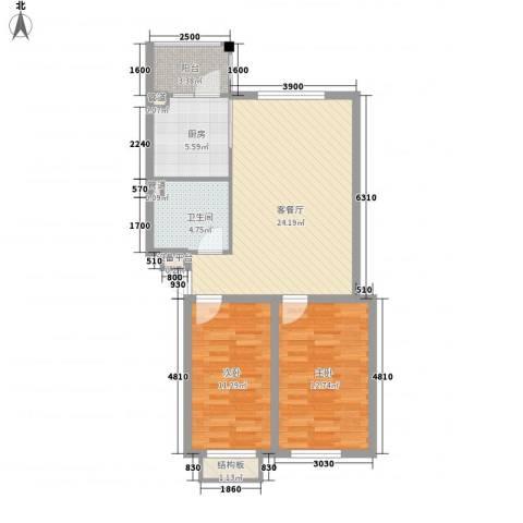 锦绣东方2室1厅1卫1厨88.00㎡户型图