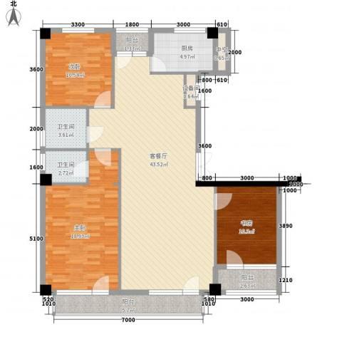 美辰臻品3室1厅2卫1厨138.00㎡户型图