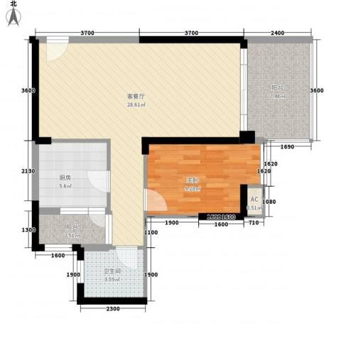 星海大第1室1厅1卫1厨82.00㎡户型图