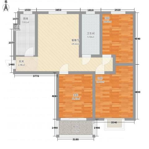 旺族雅苑3室1厅1卫1厨109.00㎡户型图