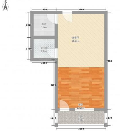 菁英汇1厅1卫1厨54.00㎡户型图