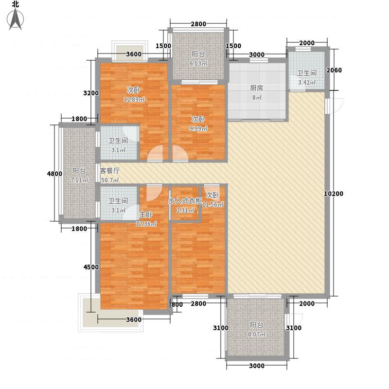 皇城汇�187.61㎡3栋2-23层02户型4室2厅2卫1厨
