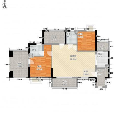 嘉景华庭2室1厅2卫1厨113.00㎡户型图