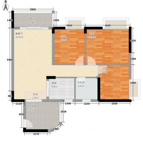 园林熙郡3室1厅1卫1厨112.00㎡户型图