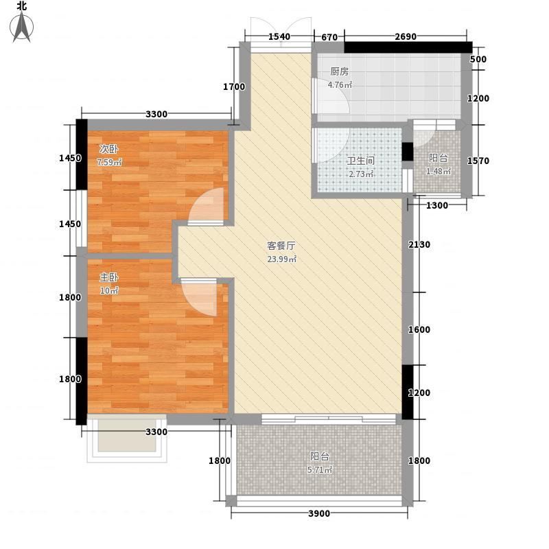御㎡华庭3号栋户型69.8㎡二房二厅一厨一卫 2室2厅1卫1厨 69.80㎡