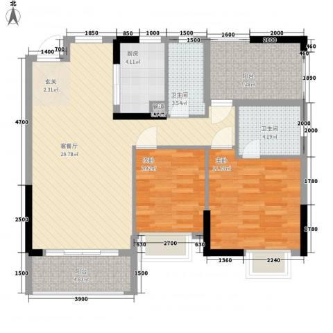 嘉景华庭2室1厅2卫1厨91.00㎡户型图