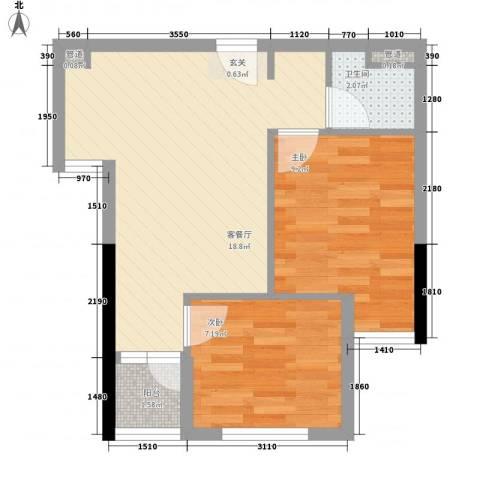 国子间2室1厅1卫0厨62.00㎡户型图