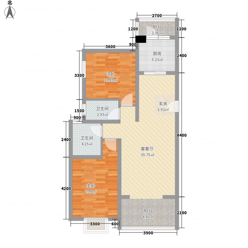 珍珠湾花园户型2室1厅2卫1厨