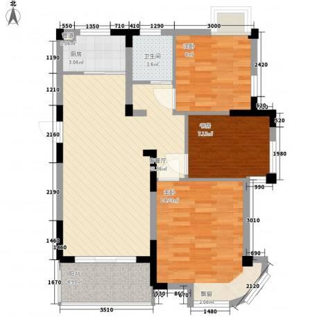金域兰庭3室1厅1卫1厨88.00㎡户型图