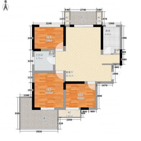 常发香城湾3室1厅1卫1厨86.80㎡户型图