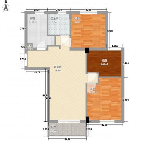 金都九月洋房朗轩3室1厅1卫1厨90.00㎡户型图