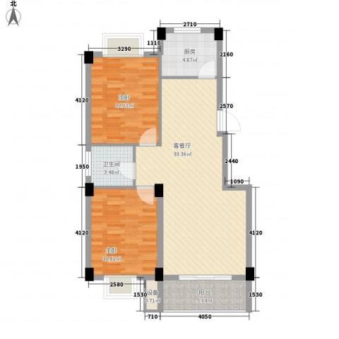 都市豪庭2室1厅1卫1厨68.58㎡户型图