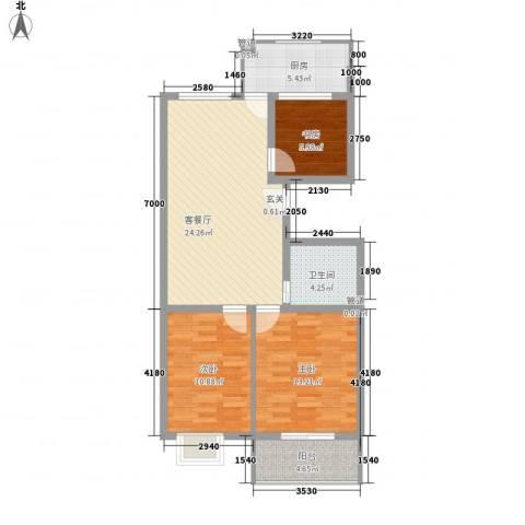 龙昌彩虹风景3室1厅1卫1厨98.00㎡户型图