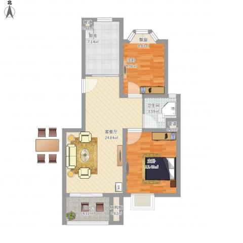 龙柏香榭苑2室1厅1卫1厨91.00㎡户型图