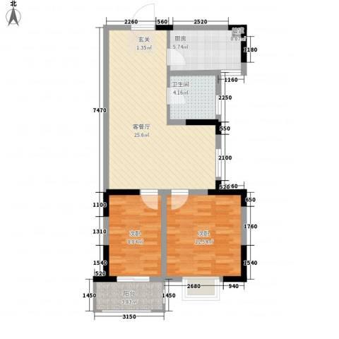隆昊昊博园2室1厅1卫1厨87.00㎡户型图