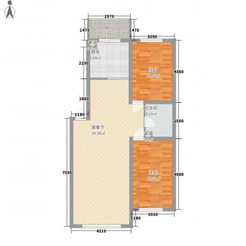 新嘉坡城2室1厅1卫1厨112.00㎡户型图